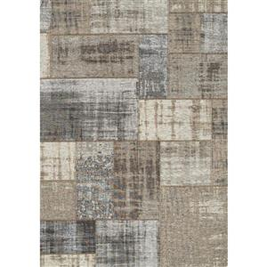 Kalora Cathedral Distressed Patchwork Rug - 5' x 8' - Grey