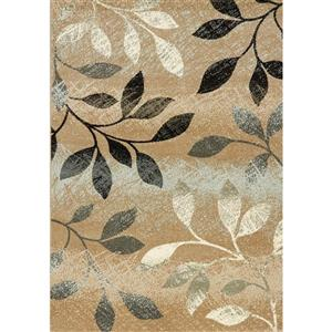 Casa Distressed Brown/White Leaves Area Rug