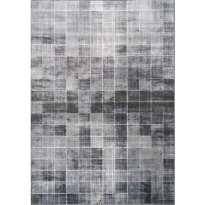 Antika Grey Distressed Squares Rug