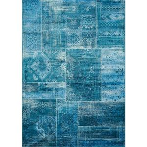 Antika Brilliant Teal Patchwork Floor Cloth Area Rug