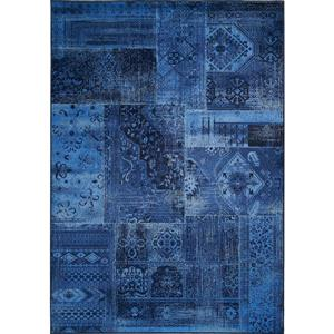 Antika Brilliant Navy Patchwork Floor Cloth Area Rug