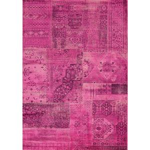 Antika Brilliant Pink Patchwork Floor Cloth Area Rug