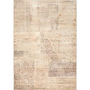 Antika Brilliant Beige Patchwork Floor Cloth Area Rug