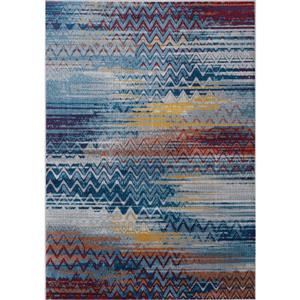 Antika Blue/Red Distressed Chevron Rug