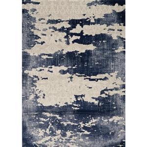 Alida Blue/Cream Distressed Area Rug