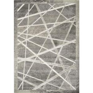 Alaska Grey/White Crossed Lines Textured Rug