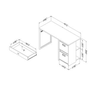 South Shore Furniture Interface 2-basket Pure White Desk