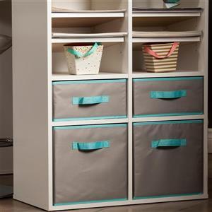 South Shore Furniture 5.75-in x 11.75-in Crea Fabric Storage Bins (2 Pack)