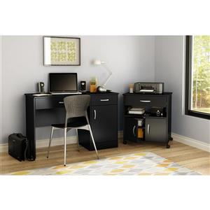 South Shore Furniture Axess Black Microwave Cart on Wheels