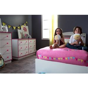 South Shore Furniture Logik 1-Drawer White and Pink Nightstand