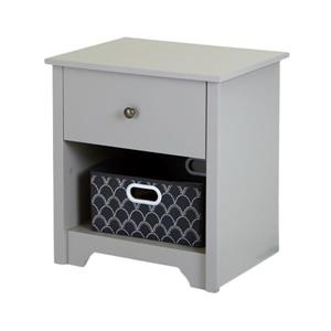 South Shore Furniture Vito 1-Drawer Nightstand Soft Grey
