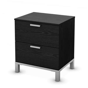 South Shore Furniture Flexible 2-Drawer Black Nightstand