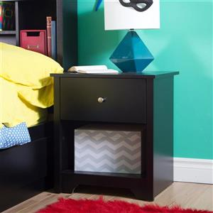 South Shore Furniture Vito 1-Drawer Black Nightstand