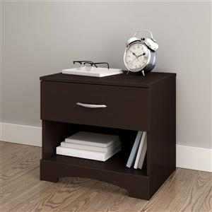 South Shore Furniture Step One 1-Drawer Chocolate Nightstand