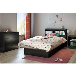 South Shore Furniture Libra Pure Black Nightstand with Storage
