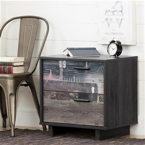 South Shore Furniture Fynn 2-Drawer Grey Oak and Factory Plans Effect Nightstand