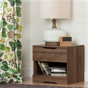 South Shore Furniture Holland 1- Drawer Natural Walnut Nightstand