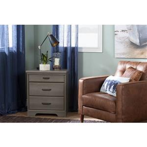 South Shore Furniture Versa Nightstand with Charging Station Grey Maple