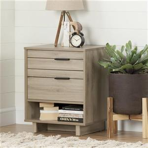 South Shore Furniture Fynn Rustic Oak Nightstand With Cord Catcher