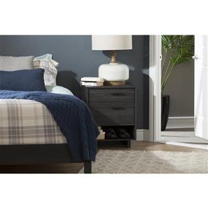 South Shore Furniture Fynn Nightstand With Cord Catcher Grey Oak