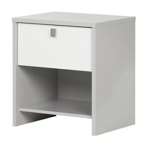 South Shore Furniture Cookie 1 Drawer Grey and White Nightstand