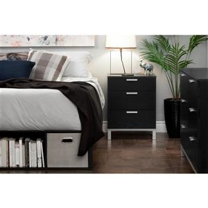 South Shore Furniture Flexible  Nightstand with Charging Station Black