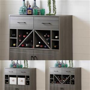 South Shore Furniture Vetti Gray Maple Bar Cabinet with Bottle Storage
