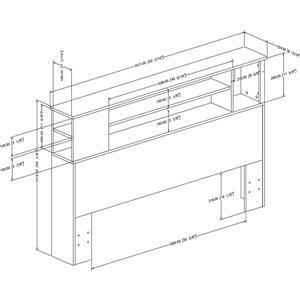 South Shore Furniture Fusion 40.25-In x 63.50-In Pure Black Full/Queen Bookcase Headboard