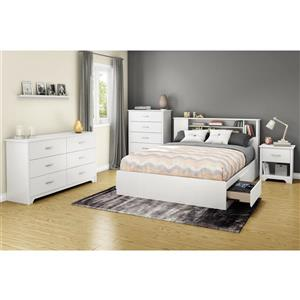 South Shore Furniture Fusion 40.25-In x 63.50-In  Full/Queen Pure White Bookcase Headboard