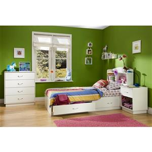 South Shore Furniture Logik 41.75-in x 41.00-in Twin Pure White Bookcase Headboard