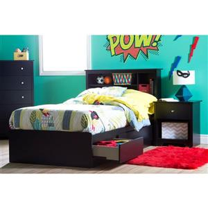South Shore Furniture Vito Black Twin Bookcase Headboard