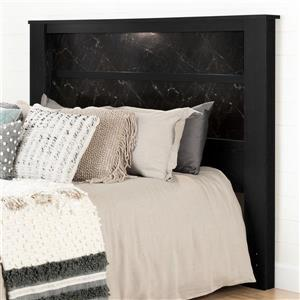 South Shore Furniture Gloria  61.00-In x  79.75-In King Black Oak and Black Marble Headboard with Lights