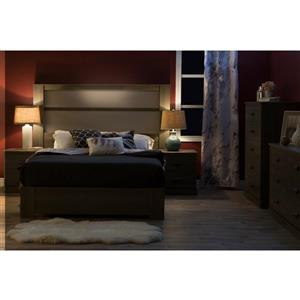 South Shore Furniture Gloria  61.00-In x 79.75-In  King Grey Maple Headboard with Lights