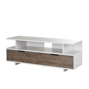 South Shore Furniture Reflekt TV Stand - Oak/White - 57-in