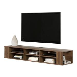 South Shore Furniture City Life 66-in Natural Walnut Wall-Mounted Media Console