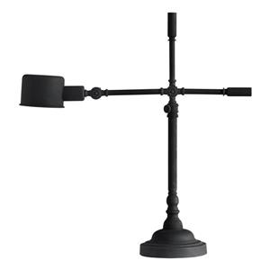 Zuo Modern Turn Table 26.9- in x 23.6- in with Adjustable Arm Black Sand Granite Finish Table Lamp