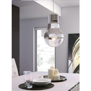 Zuo Modern Gilese Pendant Light - 1-Light - 11-in x 19.3-in - White and Chrome