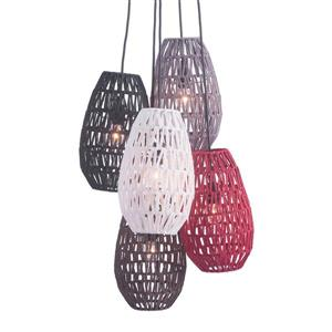 Zuo Modern Utopia Pendant Light - 5-Light - 17.7-in x 64-in - Brow/Red