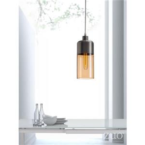 Zuo Modern Vente Collection Pendant Light - 1-Light - 5-in x 133.9-in - Satin/Amber