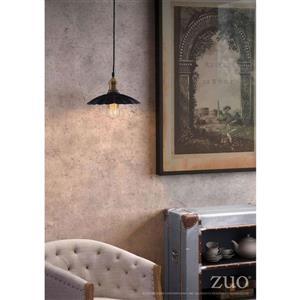 Zuo Modern Hamilton Pendant Light - 1-Light - 9.8-in x 130-in - Antique Black and Cooper