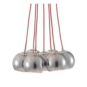 Zuo Modern Kalise Pendant Light - 7-Light - 13.8-in x 39-in - Chrome/Red