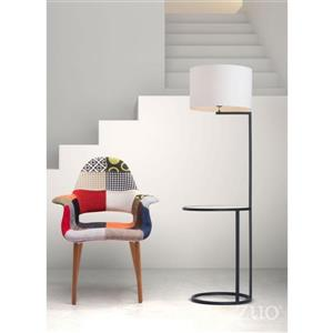 Zuo Modern Swift 69 In Matte Black With White Shade Floor