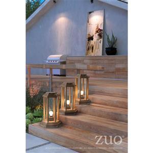 Zuo Modern Latter Outdoor Floor Lamp - 13-in x 19.3-in - Natural Wood