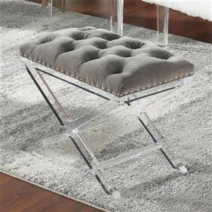 Worldwide Home Furnishings !nspire 17.64-Lbs, Height 18.50-In, Length 24-In, Depth 16-In Grey Velvet Tufted Indoor Bench