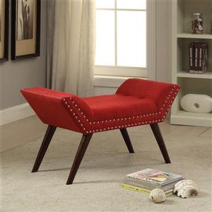Worldwide Home Furnishings !nspire 35-in Red/Brown Nailhead Detailed Polyester Blend Indoor Bench