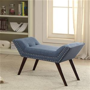 Worldwide Home Furnishings !nspire 35-in Blue/Brown Nailhead Detailed Polyester Blend Indoor Bench