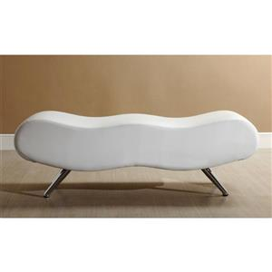 Worldwide Home Furnishings !nspire 49.50-in White/Chrome Faux Leather Double Indoor Bench