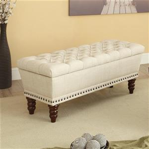 !nspire Button Tufted Linen Fabric Double Storage Bench
