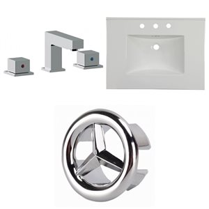 American Imaginations Flair 30.75 x 22.25-in White Ceramic Widespread Vanity Top Set Chrome Bathroom Faucet and Overflow Cap