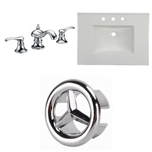 American Imaginations ican Imaginations Flair 30.75 x 22.25-in White Ceramic Widespread Vanity Top Set Chrome Bathroom Faucet and Overflow Cap